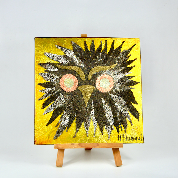 1960s mixed media picture owl 3D art H Thibaut mid century 1970s