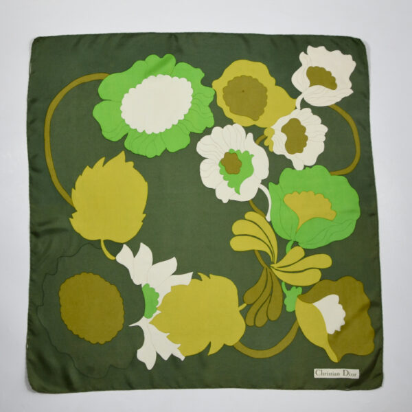 Christian Dior 1970s silk scarf green flower power vintage paris designer scarf