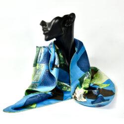 Jeanne Lanvin silk scarf paris couture scarf french designer blue green 1950s 1960s 1