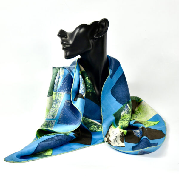 Jeanne Lanvin silk scarf paris couture scarf french designer blue green 1950s 1960s 1