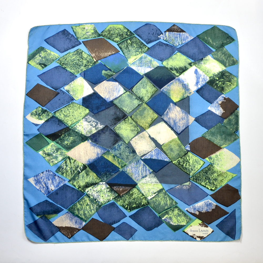 Jeanne Lanvin silk scarf paris couture scarf french designer blue green 1950s 1960s