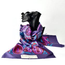 Madeleine de Rauch vintage Paris silk scarf purple 1960s 1970s french designer scarf (1)