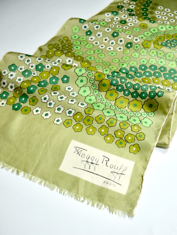 Maggy Rouff silk scarf 1970s French couture scarf green 1