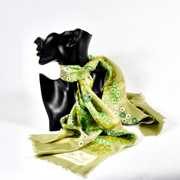 Maggy Rouff silk scarf 1970s French couture scarf green 2