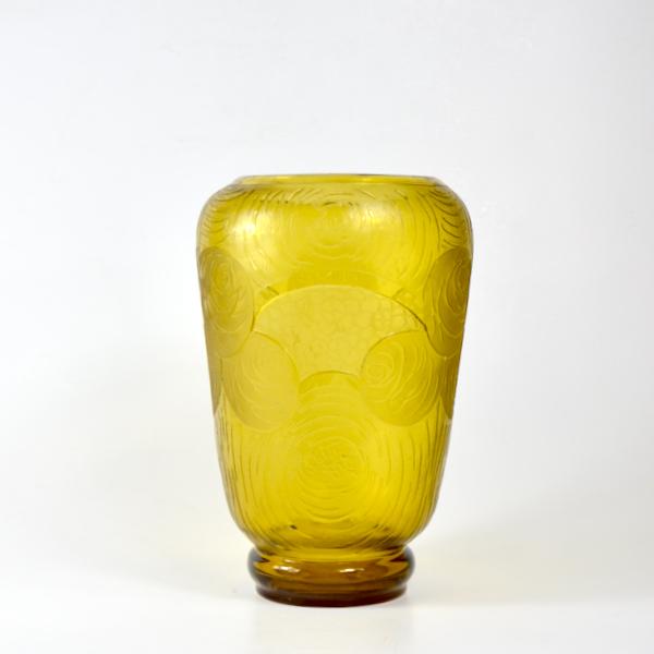 Montjoye Legras Art Deco vase in yellow wheel-etched glass