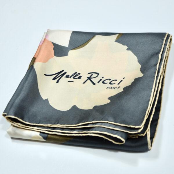 Nina Ricci silk scarf vintage french designer scarf floral pink grey 3
