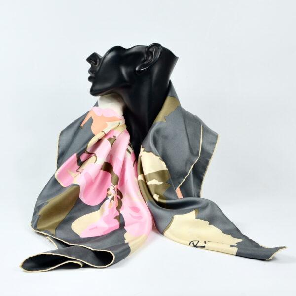 Nina Ricci silk scarf vintage french designer scarf floral pink grey 4