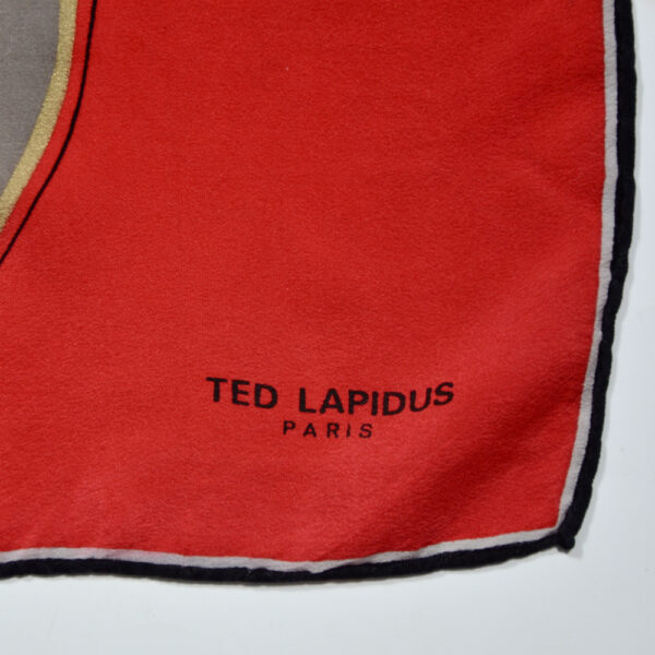 Ted Lapidus silk scarf vintage French designer scarf picture scarf 1980s 1