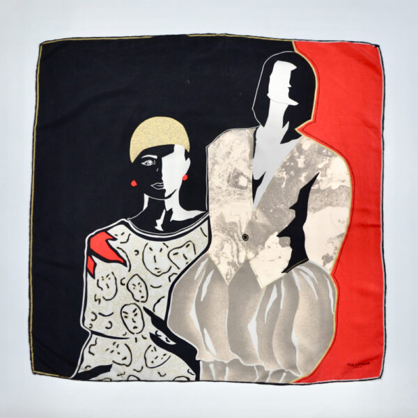 Ted Lapidus silk scarf vintage French designer scarf picture scarf red black 1980s