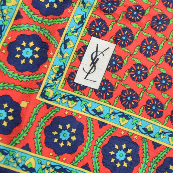 Vintage Yves Saint Laurent silk scarf paris couture scarf red green 2
