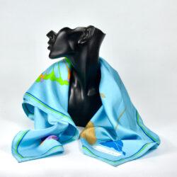 christian dior silk scarf 1970s acid brights floral french vintage designer scarf 1 (1)