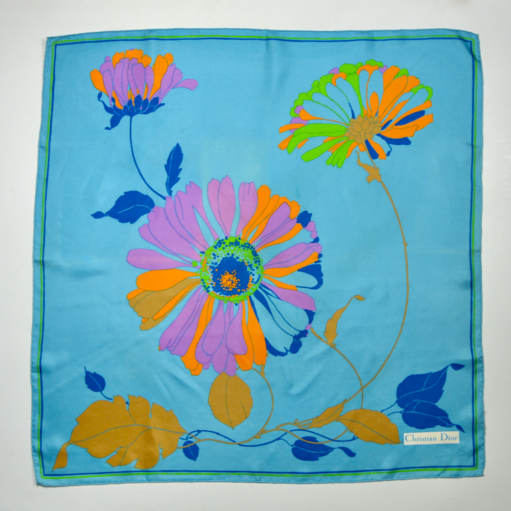 christian dior silk scarf 1970s acid brights floral french vintage designer scarf