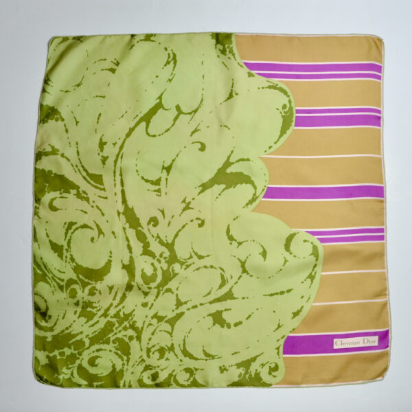 christian dior silk scarf vintage french designer scarf green pink couture 1