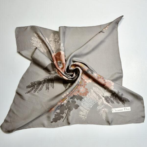 christian dior vintage silk scarf 1970s beige floral french designer silk scarf beige pink floral 1