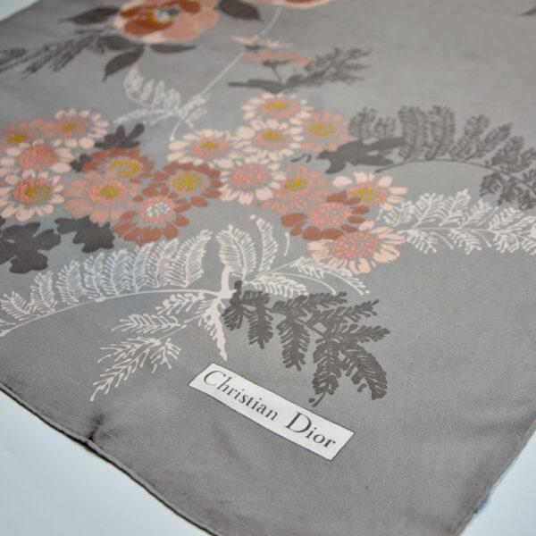 christian dior vintage silk scarf 1970s beige floral french designer silk scarf beige pink floral 2