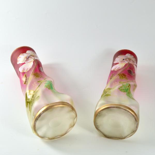 pair of Legras vases antique french art nouveau glass enamelled glass 1890s 2
