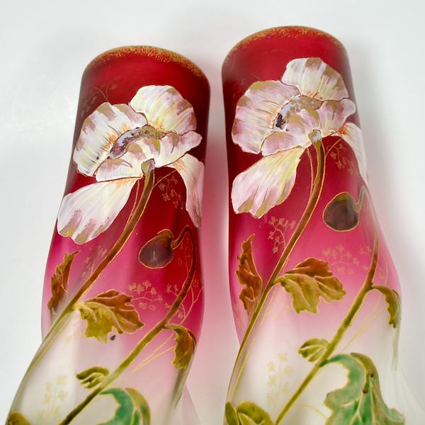 pair of Legras vases antique french art nouveau glass enamelled glass 1890s 3