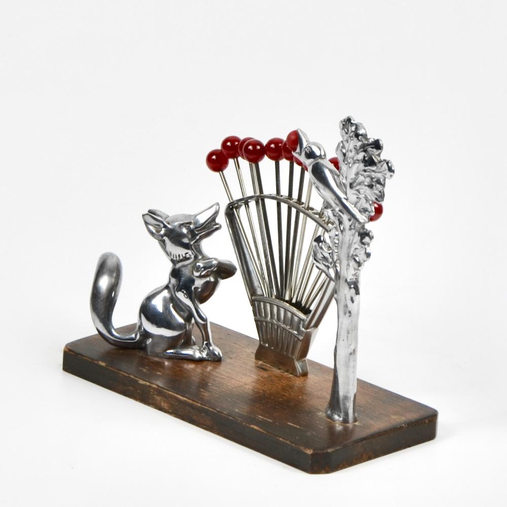 Benjamin Rabier Art Deco cocktail stick set in chrome and bakelite Crow Fox vintage barware 1930 2