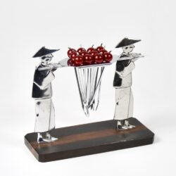 Chinamen Art Deco cocktail stick set in chrome and bakelite, c1925 1 (1)