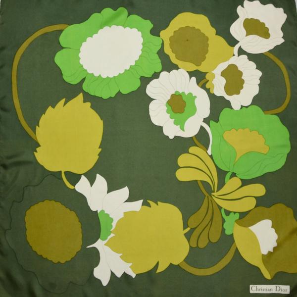 Christian Dior 1970s silk scarf green flower power vintage paris designer scarf (1)