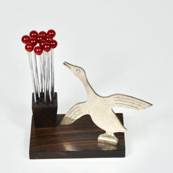 Duck Art Deco cocktail set, chrome, macassar, bakelite, Rabier 1930s 3