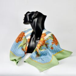 Jim Thompson pre-owned Thai silk scarf green blue floral (1)