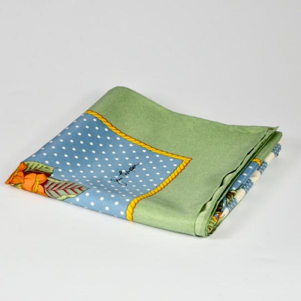 Jim Thompson pre-owned Thai silk scarf green blue floral 3