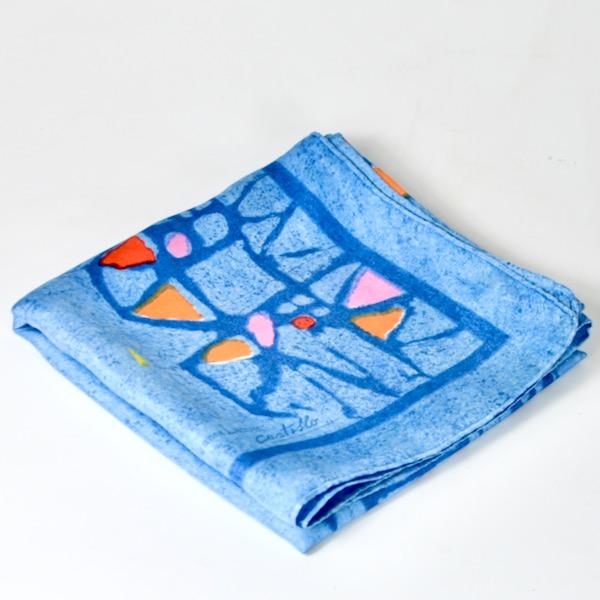 Lanvin Castillo silk scarf vintage Paris designer scarf in blue 1960s 2