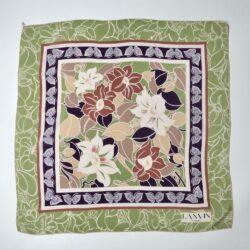 Lanvin silk scarf 1970s green purple floral french vintage designer scarf