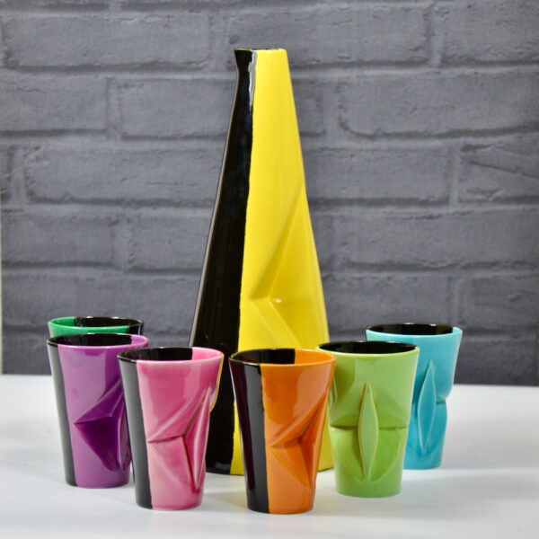 Vallauris 1950s rainbow lemonade set tumblers jug bicoloured mid century french pottery