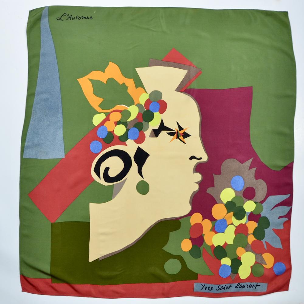 Yves Saint-Laurent silk scarf 'Automne' french designer scarf Paris couture