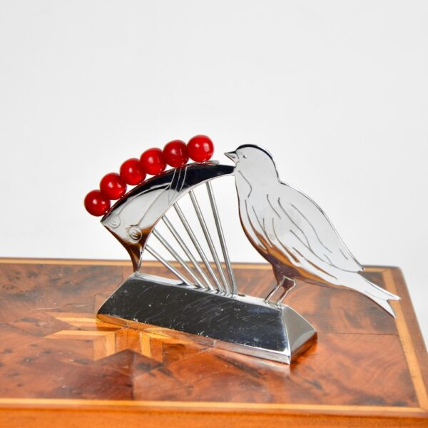 art deco bird and cherries cocktail stick set chrome bakelite french antique barware