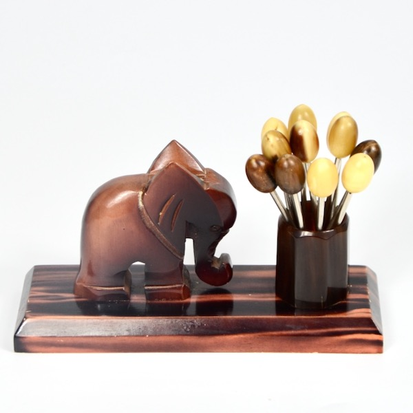 art deco cocktail stick set elephant