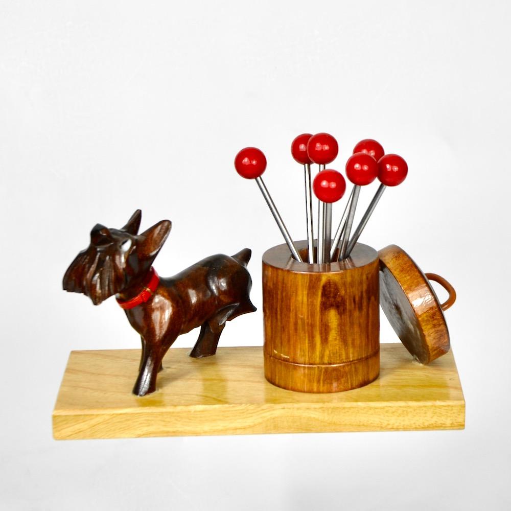art deco ric et rac dog cocktail stick set bakelite barware 1930s 1
