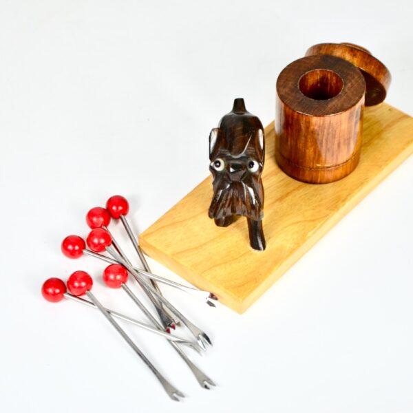 art deco ric et rac dog cocktail stick set bakelite barware 1930s 2