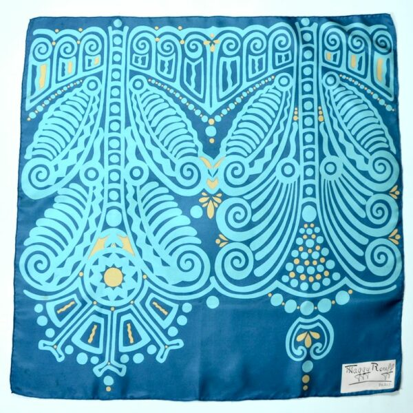 maggy rouff 1960s silk scarf vintage french designer scarf abstract turquoise