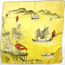 maggy rouff silk scarf vintage designer silk scarf 1950s yelllow chinese junks