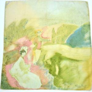 maggy rouff silk scarf vintage french designer 1950s impressionist pastels