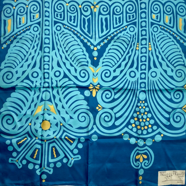 maggy rouff vintage silk scarf blue and aqua abstract