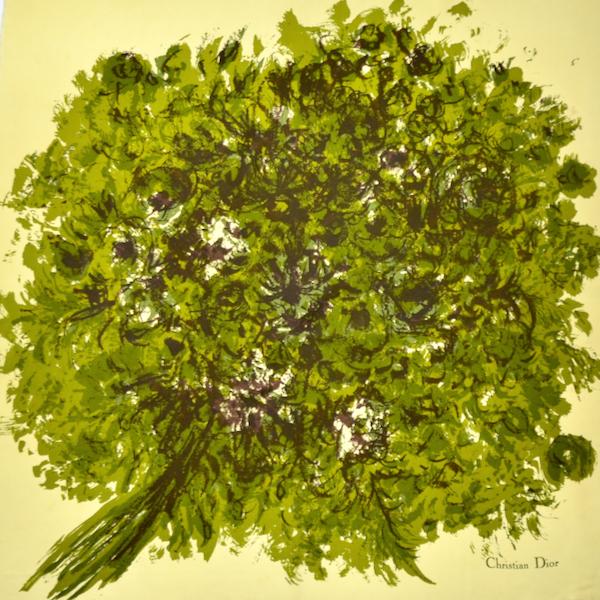 oak tree Christian Dior silk scarf french vintage scarf paris designer scarf 2