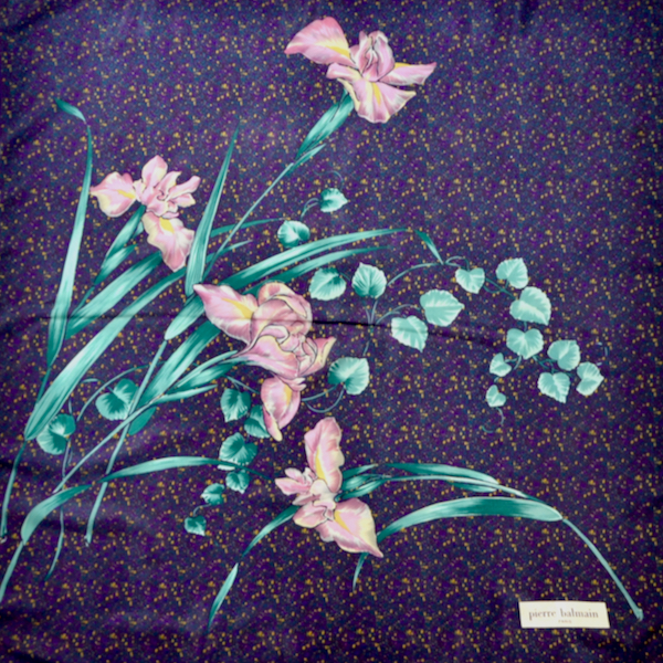 pierre Balmain vintage french silk scarf orchid purple 1970s french designer scarf 1 (1)