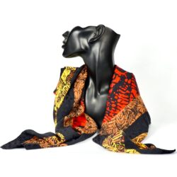 pierre cardin silk scarf leaf red orange yellow vintage french designer scarf 4