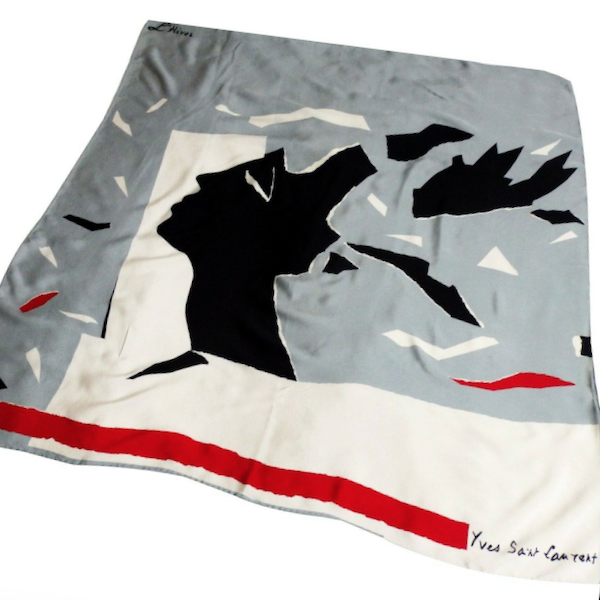 yves saint laurent hiver vintage french designer silk scarf