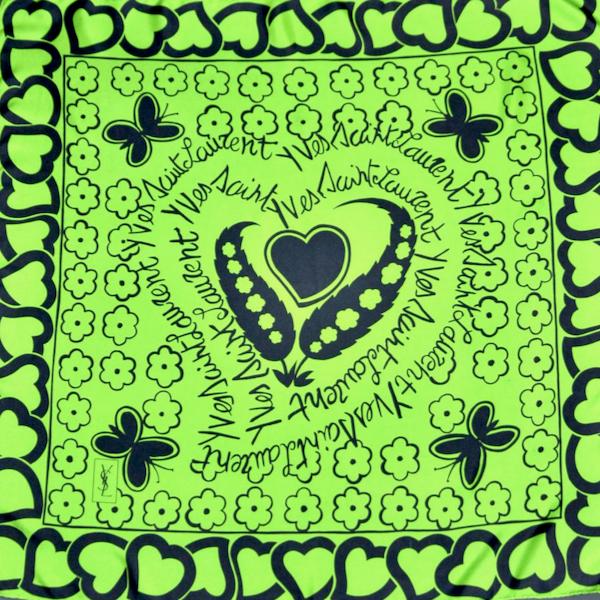 yves saint laurent ysl vintage silk scarf designer emerald green hearts and flowers