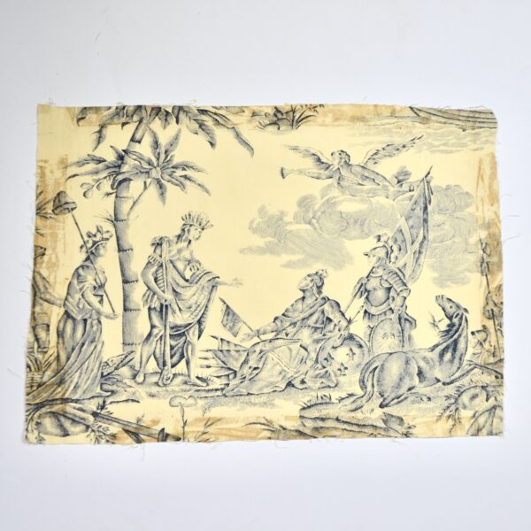 18th century Toile de Jouy Homage de l'Amérique à la France antique French textile panel 1783 2