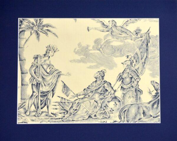 18th century Toile de Jouy Homage de l'Amérique à la France antique French textile panel 1783