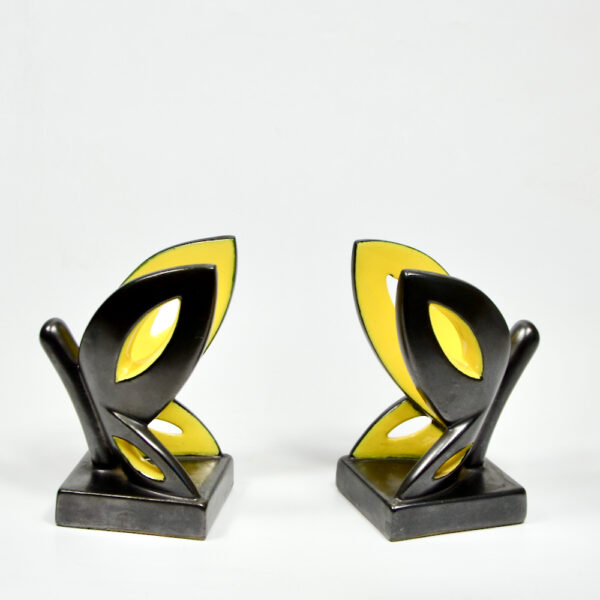 Primavera Art Deco bookends by CAB Bordeaux black yellow butterfly 1930 French ceramic 4