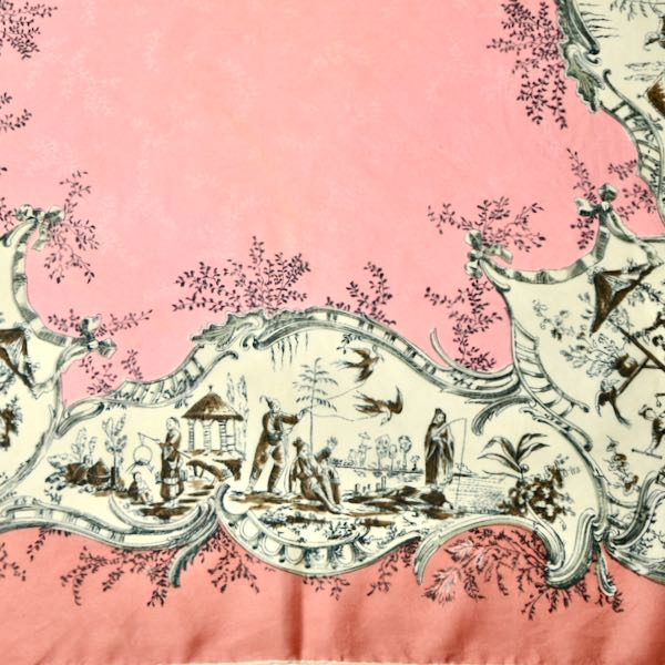 Thirkell London 1950s silk scarf chinoiserie pink 1