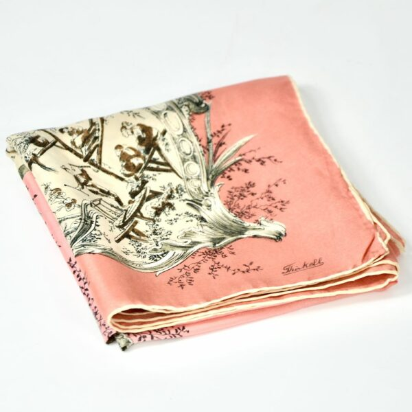 Thirkell London 1950s silk scarf chinoiserie pink 3