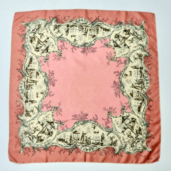1950s Thirkell London 1950s silk scarf chinoiserie pink